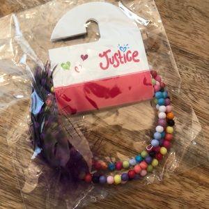 Justice Bead Wrap Bracelet Purple Dot Feather